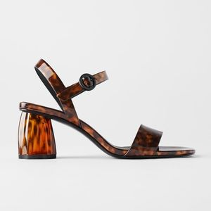 ZARA Tortoiseshell Wide Heeled Sandals